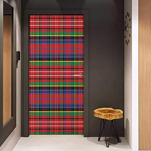 Self-Adhesive Wall Murals Plaid Caledonia Scottish Traditional Pattern Tartan Motif Abstract Squares Ornate Quilt Sticker Removable Door Decal W38.5 x H77 - Vortex Quilt