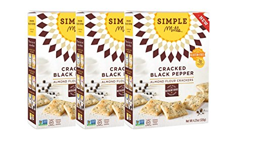 Simple Mills Naturally Gluten-Free Almond Flour Crackers, Cracked Black Pepper, 3 Count