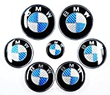 XtremeAmazing 7 pcs Blue White Real Carbon Fiber Hood Trunk Hub Caps Emblems Badges for BMW