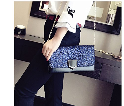 Womens Envelope Rhinestone Formal Chain Shoulder Black Handbag Evening with ALAIX led Purse Clutch Wristlet XYUdXwq