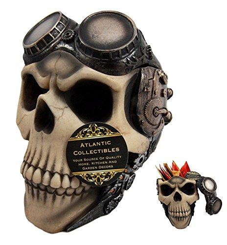 Atlantic Collectibles Steampunk Cyborg Aviator Skull Decorative Box Ashtray Figurine 5.5
