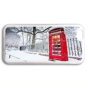 Customized Classic British London Red Telephone Box iphone 6 5.5 TPU Rubber (Laser Technology) Transparent Case, Cell Phone Cover