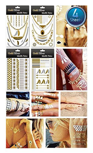 1 PACKAGE - (4 ASSORTED SHEETS) Metallic Gold Silver Black Jewelry Inspired Temporary Bling Tattoo - Feel Gorgeous & Look Stylish - Custom Jewelry Designs in Gold Black and Silver Glitters - Own Your Style