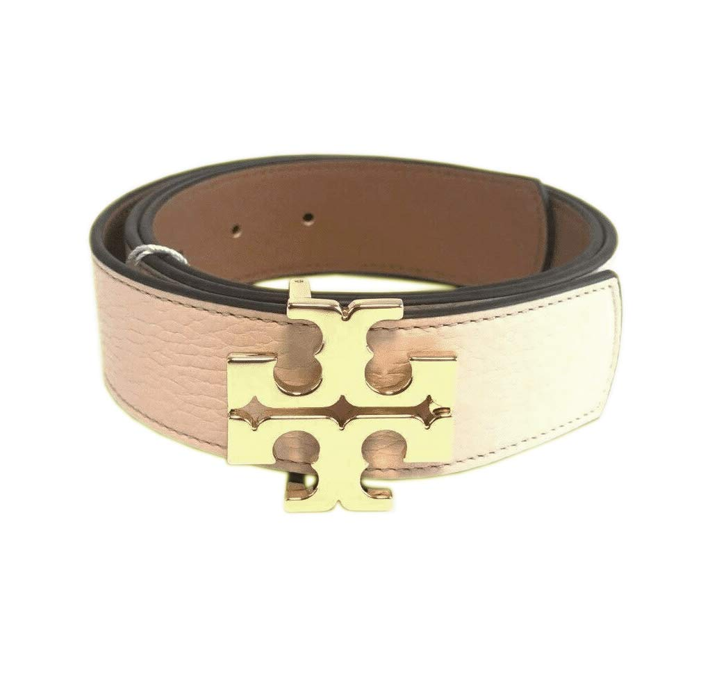 Tory Burch Womens 1 1/2'' Sweet Melon Pink Genuine Pebbled Leather/Smooth Leather Reversible T Logo Belt Pink/Beige (Large)