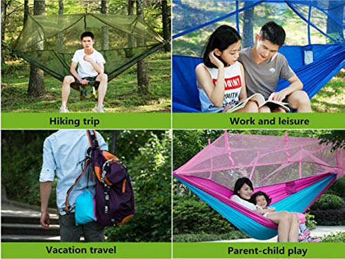 KJLM Camping Hammock with Mosquito Net – Lightweight Nylon Portable Hammock for Indoor,Outdoor, Hiking, Camping, Backpacking, Travel,Beach