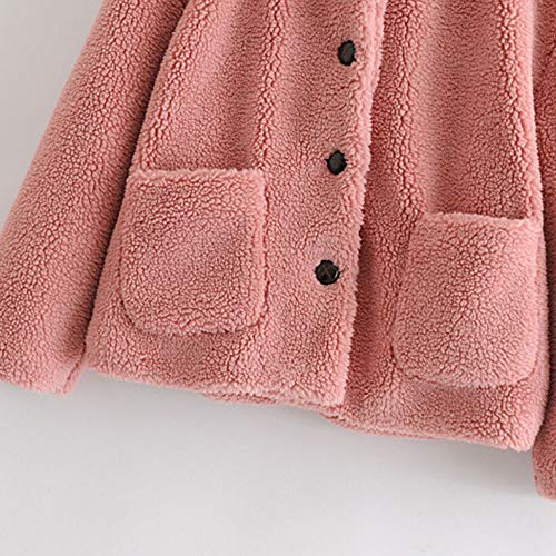 Poche Rose Capuche À Femme Manteaux Longues Chaud A Épais Manteau Susenstone Coat Fourrure Cardigan Laine Hiver Manche twzfnqa