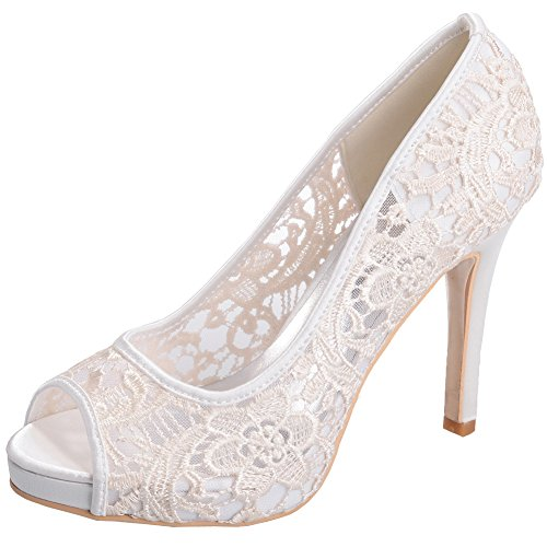 LOSLANDIFEN Women's Peep Toe Lace Flower Pumps Stiletto High Heels Wedding Sandals Shoes(6041-01Lace38,Ivory) (Ivory Leather Peep Toe Pumps)