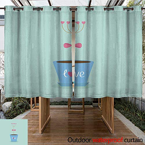 RenteriaDecor Home Patio Outdoor Curtain Flower Hearts in The Pot Pink Bow Love Flat Blue W108 x L72