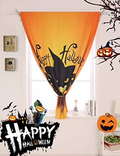Vandesun Halloween Theme Thermal Insulated Semi-Blackout Curtain Panel with Rod Pocket for Holiday Window Decoration (52W x 84L)