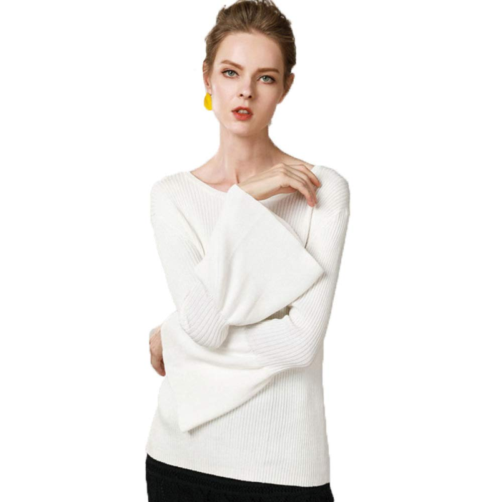 QJKai Womens Autumn and Winter Sweaters Solid Color Lantern Sleeves Round Neck Temperament Slim Bottoming Sweater