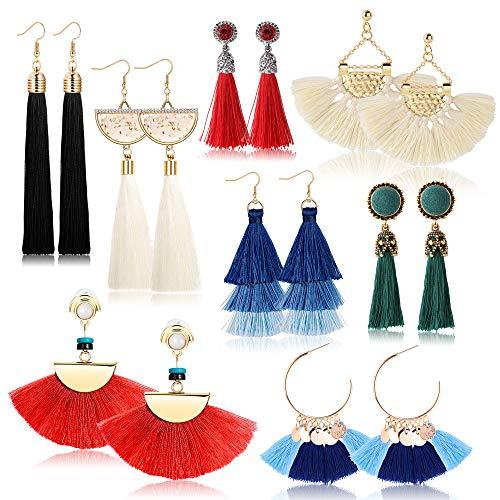 Yadoca 8-10 Pairs Tassel Earrings for Women Colorful Long Layered Thread Dangle Fringe Drop Earrings Fan Shaped Hook Earrings for Girls Fashion Bohemian Style