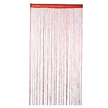 uxcell® Polyester Bedroom Door Window String Bead Curtain Tassel Valance 100 x 200cm Red