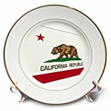 3D Rose Image of California Flag in Contemporary Design Porcelain Plate, 8''