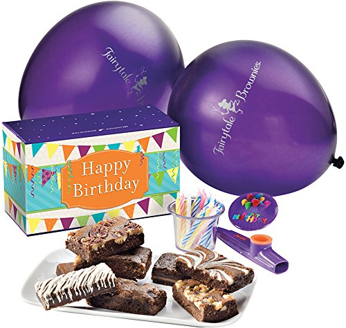 Fairytale Brownies Birthday Treasure Surprise Gourmet Food Gift Basket Chocolate Box - 3 Inch x 1.5 Inch Snack-Size Brownies - 13 Pieces