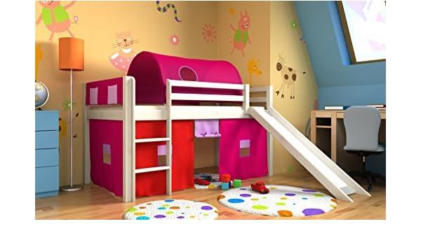 Cama para niños, Litera, tobogán, cortina, colchón, túnel, bolsas: Amazon.es: Hogar