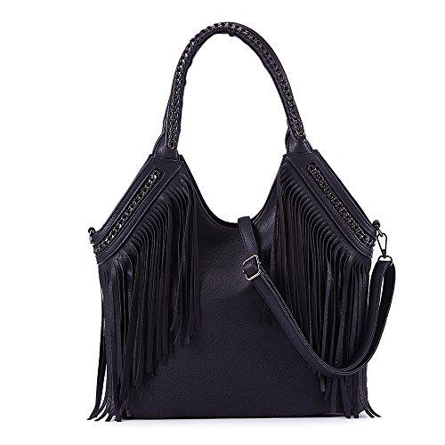 Celaine Womens Handbags Tassel Cross Body Shoulder Bag Hobo Satchel - Large Storage - PU Suede Leather, Black