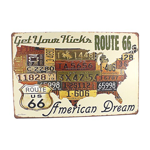 (12x8 Inches Pub,bar,home Wall Decor Souvenir Hanging Metal Tin Sign Plate Plaque (ROUTE 66 AMERICAN DREAM))
