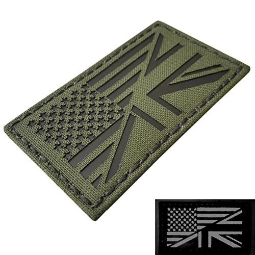 (IR OD Green USA UK Union Jack Friendship Flag 2x3.5 Olive Drab Infrared IFF Tactical Morale Fastener Patch)