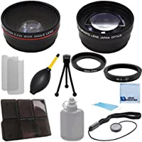 Pro Series 37mm 0.43x Wide Angle Lens + 2.2x Telephoto Lens with an eCostConnection Deluxe Lens Accessories Kit for Sony HVR-A1 1/3 Professional HDV, HVR-HD1000U, High Definition HDV & Ring adapters