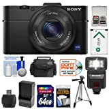 Sony Cyber-Shot DSC-RX100 II Wi-Fi Digital Camera (Black) with 64GB Card + Battery & Charger + Case + Flash + Tripod + Accessory Kit