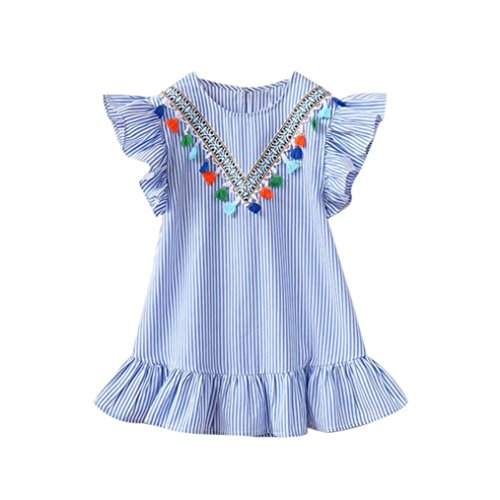 Toddler Kids Baby Girls Summer Stripe Tassel Ruffles Party Princess Wedding Dresses 2-7 Years (Blue, 6-7T) -
