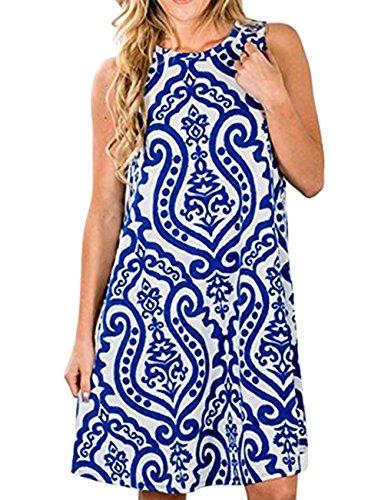 Womens Crew Neck Printed Sleeveless Casual Tunic Tops Summer Swing Tee Shirt Dress with Pockets (Blue, M) (Blue Summer Dress)