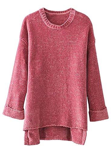 Futurino Women's Loose Warm Chenille Knit 3/4 Sleeve High Low Hem Side Slit Pullover Sweater