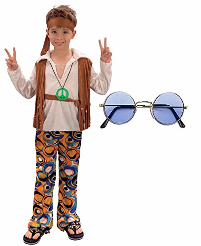Boys Girls 60s 70s Hippy Fancy Dress Costume Outfit with Glasses (4-6 -