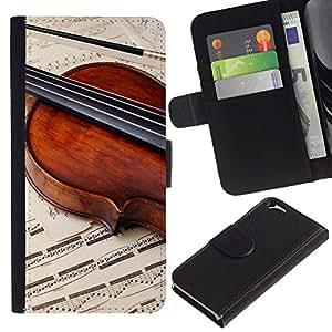 Planetar® Modelo colorido cuero carpeta tirón caso cubierta piel Holster Funda protección Para Apple (4.7 inches!!!) iPhone 6 ( Music Violin Retro )