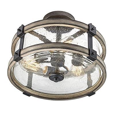 Barrington Anvil Iron and Driftwood Clear Glass Semi-Flush Mount Rustic Light