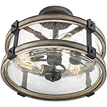 Barrington Anvil Iron and Driftwood Clear Glass Semi-Flush Mount Rustic Light