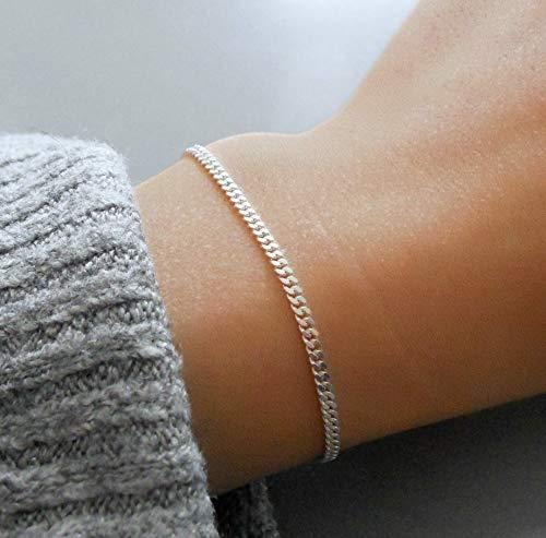 Handmade Dainty Sterling Silver Gourmet Chain - Sterling Cuff Bracelet Delicate