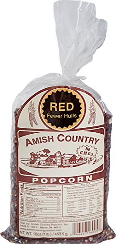 Amish Country Popcorn – Red Popcorn 1 Pound Bag – with Recipe Guide – Old Fashioned, Non GMO, Gluten Free – 1 Year Freshness Guarantee (1lb) For Sale