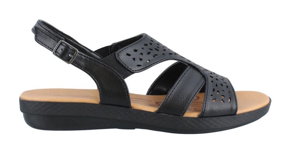 Easy Street Women's Bolt Flat Sandal, Black, 7 W US