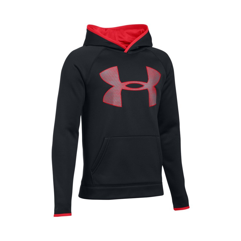 Under Armour Boys' Storm Armour Fleece Highlight Big Logo Hoodie, Black (002)/Red, Youth X-Small