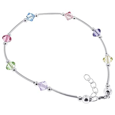 freshwater white pin adjustable pearl to ankle bracelets bracelet elements swarovski multicolor inch silver with crystal sterling anklet