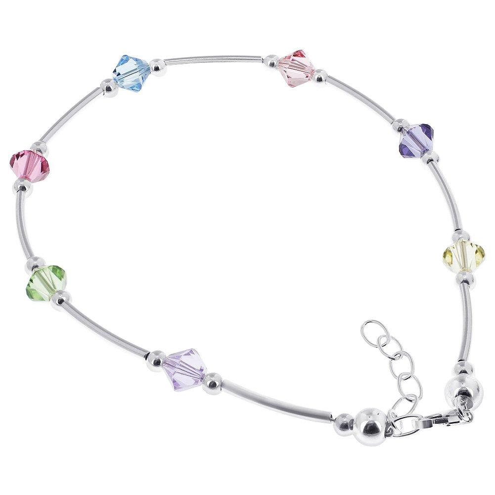 Gem Avenue Sterling Silver Swarovski Elements Multicolor Bicone Crystal Ankle Bracelet 9 to 10 inch Adjustable