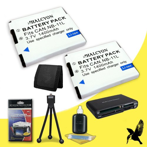 (Two Halcyon 1400 mAH Lithium Ion Replacement NB-11L Battery + Memory Card Wallet + SDHC Card USB Reader + Deluxe Starter Kit for Canon PowerShot A4000 IS 16 MP Digital)