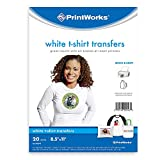 Printworks White T-Shirt Transfers for Inkjet Printers, For Use on White Fabrics Only, Photo Quality Prints, 20 Sheets, 8 ½' x 11' (00546)