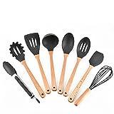 YANXH Wooden Handle Silicone Kitchenware 8-Piece Set Eight-Piece Kitchen Tool Set,Black