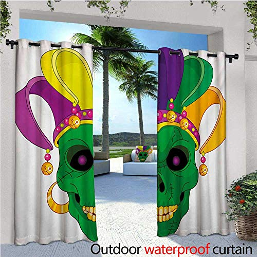 homehot Mardi Gras Indoor/Outdoor Single Panel Print Window Curtain Scary Looking Green Skull Mask with Carnival Hat Beads and Earring Cartoon Style Silver Grommet Top Drape W108 x L96 Multicolor