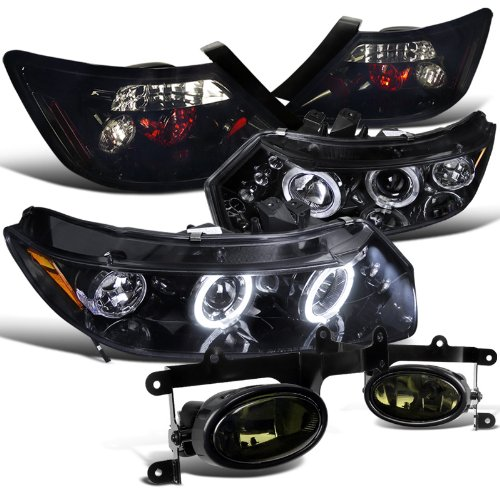 Honda Civic 2Dr Glossy Black Halo Led Headlights, Tail Lamps, Smoked Fog Lights (Halo Headlights Civic Honda)