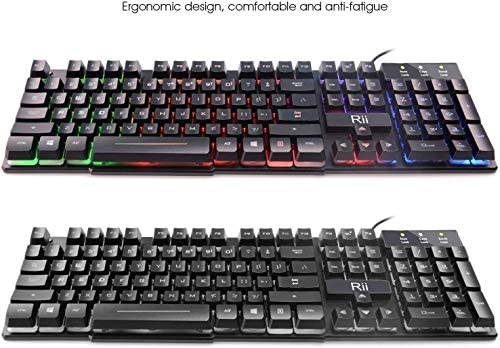 Rii RK100+ Multiple Color Rainbow LED Backlit Large Size usb Wired Mechanical Feeling Multimedia Gaming Keyboard,Office Keyboard For Working or Primer Gaming,Office Device 51l2qJoF4SL