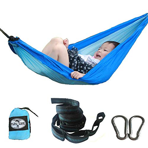 Mini Hammock - Funlife Child/Kid Birthday Gift Nylon Parachute Hammock Blue Color with Carabiners