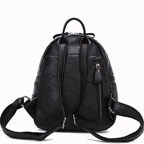 Mefly Tasche Leder Rucksack Rucksack Solide Niet Einfache Welle Von Schülern