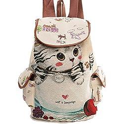 joyloading Casual Escolar de Lona Mujer adorable gato impreso mochila de cordón adolescente gran capacidad, Estilo 1, Verde, Mediano