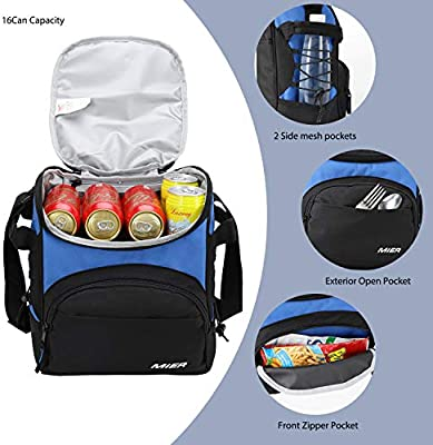 3e7b2858ff14e MIER 16 Can Insulated Lunch Box Bag for Women Men Large Leakproof Soft  Cooler Bag, Blue