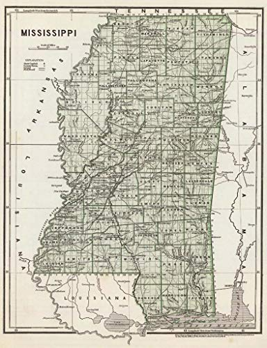 Home Comforts Laminated Poster Mississippi Vintage 1845 State Road Map Vivid Imagery Poster Print 24 x 36