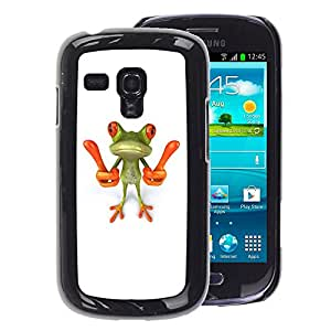 A-type Arte & diseño plástico duro Fundas Cover Cubre Hard Case Cover para Samsung Galaxy S3 MINI 8190 (NOT S3) (Smart Frog Funny Cartoon Minimalist White)