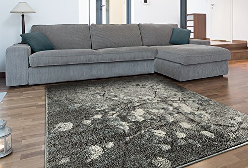 Adgo Milano Collection Modern Contemporary Vintage Floral Design Jute Backed Area Rugs High Pile Soft and Fluffy Indoor Floor Rug, Silver Blue, 3' x (Floral Polyester Rug)